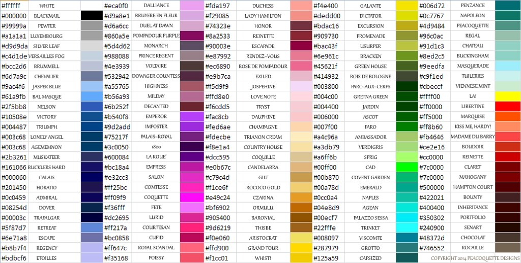 PD Palette Chart ~ Hex-Name-Color | Hex colors for my palett… | Flickr