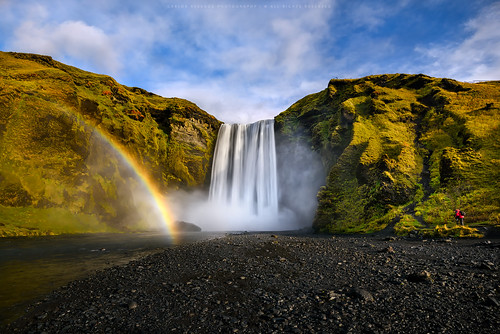 travel light color water landscape waterfall iceland rainbow perfect photographer calm serenity moment skogafoss cresende