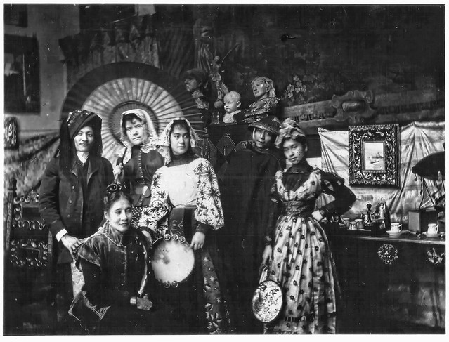 Jose Rizal (standing 1st from the left) and María de la Paz Pardo de Tavera (standing 2nd from the left) and friends.