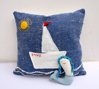 sailing boat toy pillow | by ergani_weaving