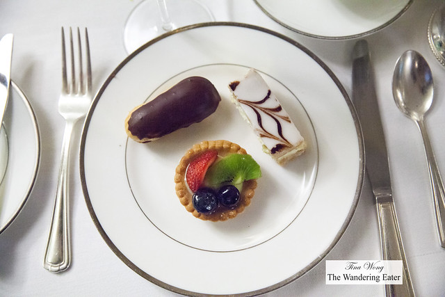 Chocolate eclair, Napoleon, fruit tart