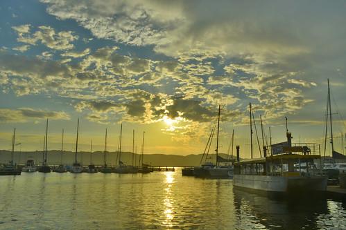 sunset boat waterfront knysna