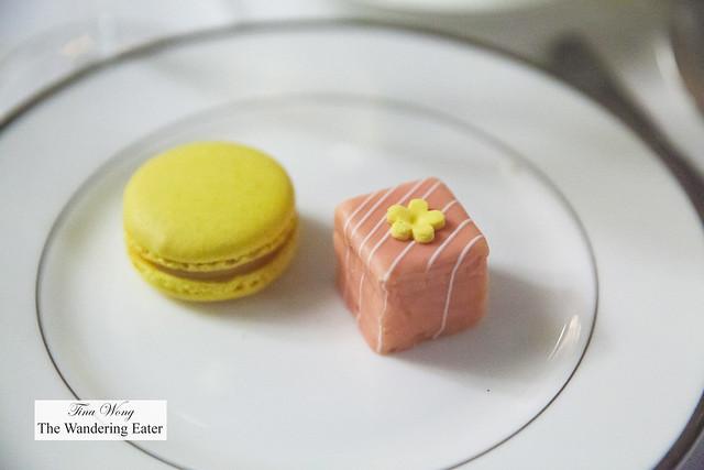 Lemon macaron and pink marzipan petit four cake