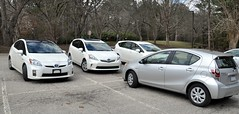 The Sertoma parking lot had lots of Toyota Prius'.