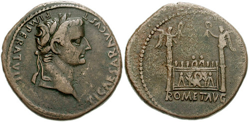 TIBERIUS, as Caesar, AE as. The Altar of Lugdunum, struck