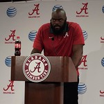 A'Shawn Robinson doing everything he can not to smash the puny podium