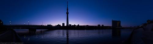 panorama tower japan night sunrise river dawn tokyo pentax jp 日本 asakusa sumidagawa 隅田川 東京都 暁 台東区 東京スカイツリー tokyoskytree 645z smcpentaxfa64535mmf35alif 初日の出2016