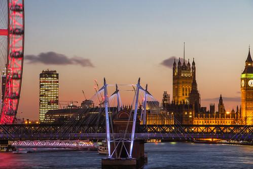uk sunset england london thames clouds londoneye bigben jubileebridge matthewbiddle