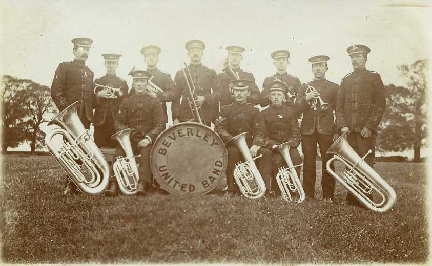 Beverley United Band on Westwood 1910 (archive ref PO-1-14-164)