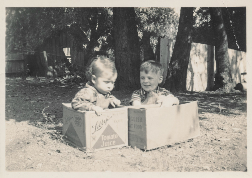 Two little boys playing in boxes