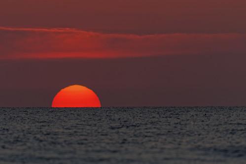 beach ocean florida newsmyrnabeach canon canon7dmkii ef500mmf4lisii handheld y6a1148dxo sun sunrise atlanticocean halfsun big bigsun