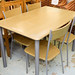 Metal and wood frame table and four chairs