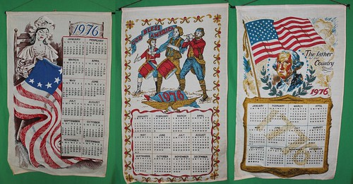 Three Bicentennial calendar banners that I bought in 1976. They have been rolled up and stored all these years. For the people that are not from the USA, July 4, 1976 was a very big day.