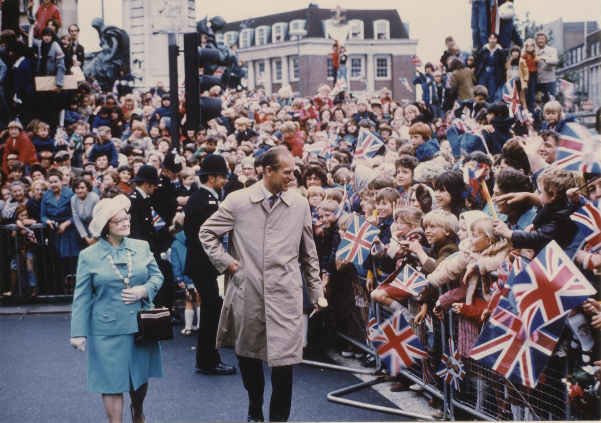 Arrival at City Square, Hull, HRH Prince Philip and The Lady Mayoress Mrs E Kirkwood 13th July 1977 (archive ref CCHU-4-1-9-2)