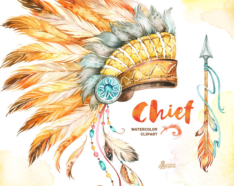 Chief  Indian Headdresses, Dreamcatcher and Arrow  Waterco