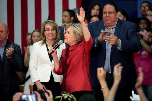 Hillary Clinton, Gabrielle Giffords & Stephen Roe Lewis | by Gage Skidmore