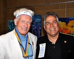 2 visiting Rotarians: L-R: Dr. Willem van Elk from the Raleigh Club and Moe Hassan from the West Raleigh Club.