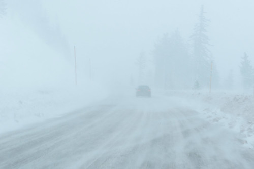 Snow on the road and in the air | by OregonDOT