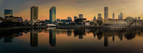city panorama reflection sunrise cityscape singaporeriver