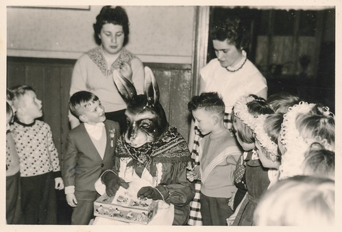 Group of children visiting the Easter bunny