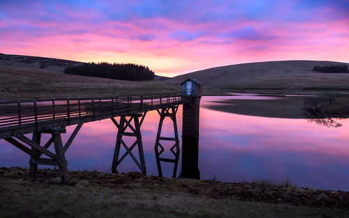 uk sunset reflection scotland unitedkingdom britain reservoir northeskreservoir