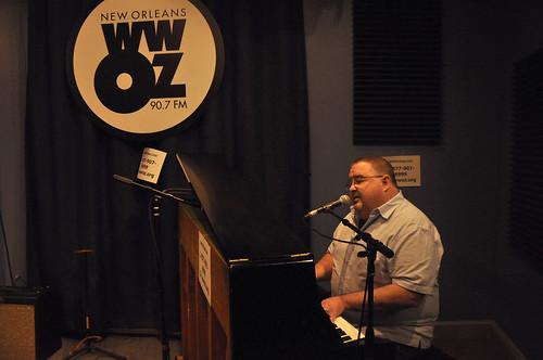 John Gros at WWOZ.  Photo by Leona Strassberg Steiner