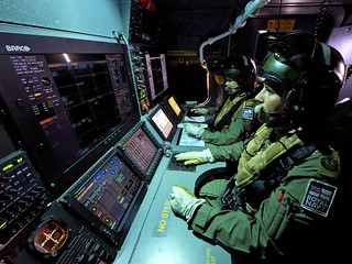 Aircrew from 814 Naval Air Squadron man the observer consoles in a Merlin HM Mark2 aircraft | by Royal Navy Media Archive