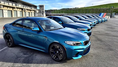 Special day at #LagunaSeca #Racetrack with the all-new 2017 BMW M2 Coupe & its 365 hp & 343 lb.ft. of torque (369 with over boost). Its 0 to 60 time = 4.2 with the 7-speed M DCT (double clutch transmission). Vehicles will arrive to dealers in April. #Auto Photo