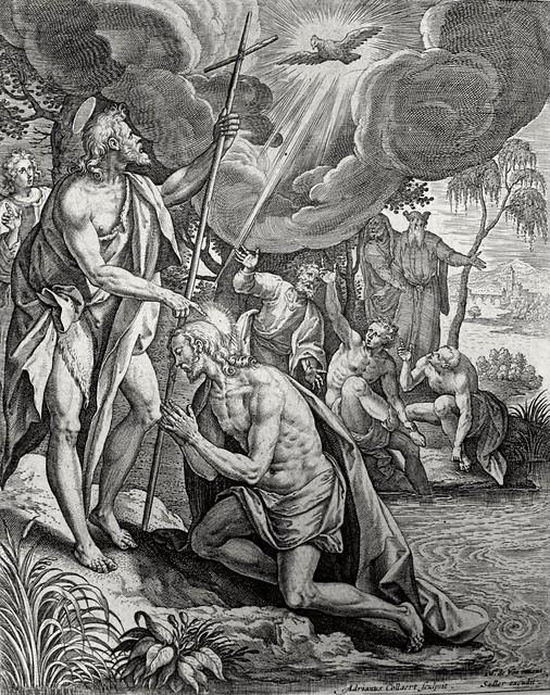 Christ's earthly ministry in the Phillip Medhurst Bible 021 of 550 Jesus is baptised Mark 1:9-11 De Vos