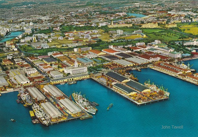 Manila Harbor, Manila City, and Intramuros, Philippines, late 1950s or early 1960s