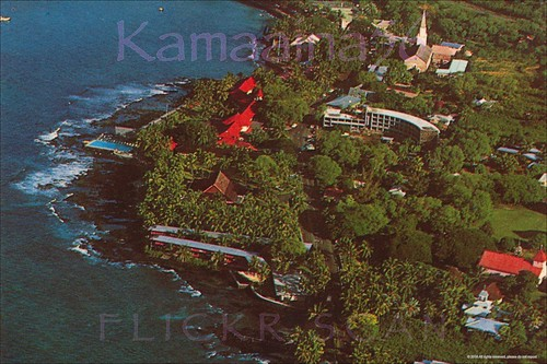 1960s kona hawaii aerial bigisland konainn waiaka postcard