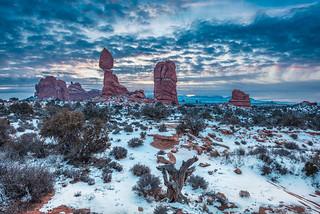 Wintry Sunrise at Balanced Rock, Arches National Park, Moab, Utah