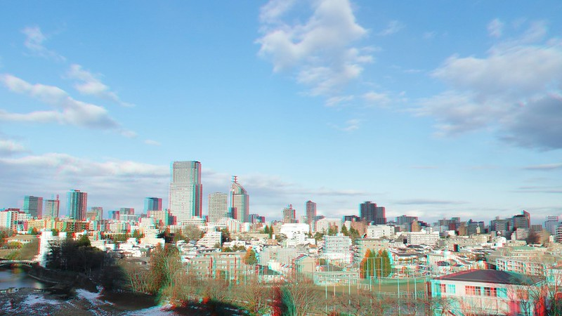 Central of Sendai, anaglyph