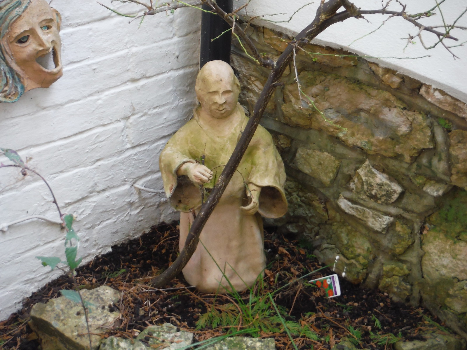 Monk in Garden, Dinton SWC Walk 193 Haddenham to Aylesbury (via Gibraltar and Ford)