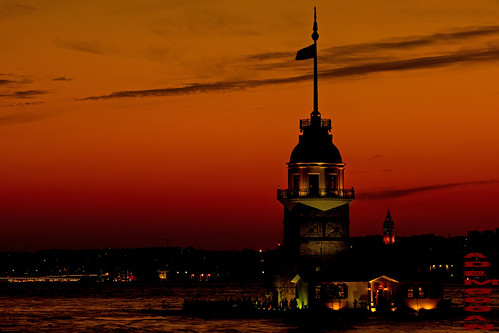 city sunset red colors turkey landscape colorful asien sonnenuntergang istanbul asya farben maidenstower turkei kizkulesi