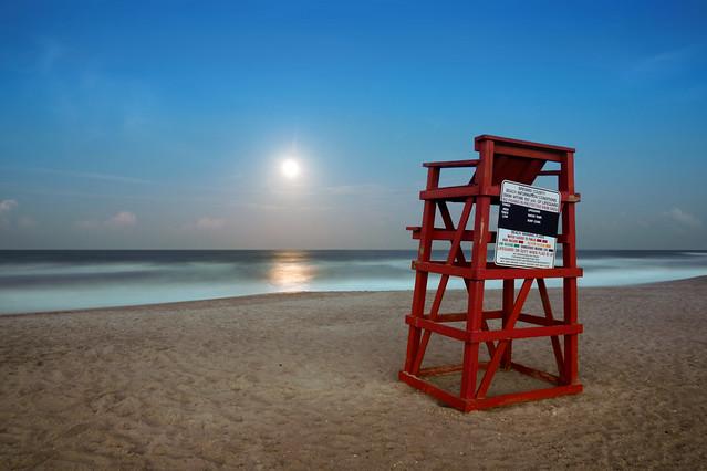 Moonrise over the Atlantic Ocean.