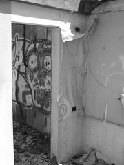 Face Through Door in B&W