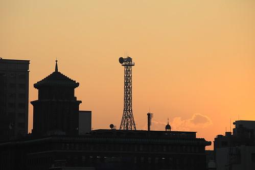 sunset sky tower silhouette japan yokohama kanagawa