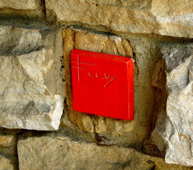 Frank Lloyd Wright Red Signature Tile at Kentuck Knob, Pennslyvania