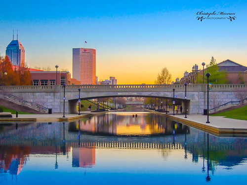 bridge sunset urban usa canal indianapolis indiana