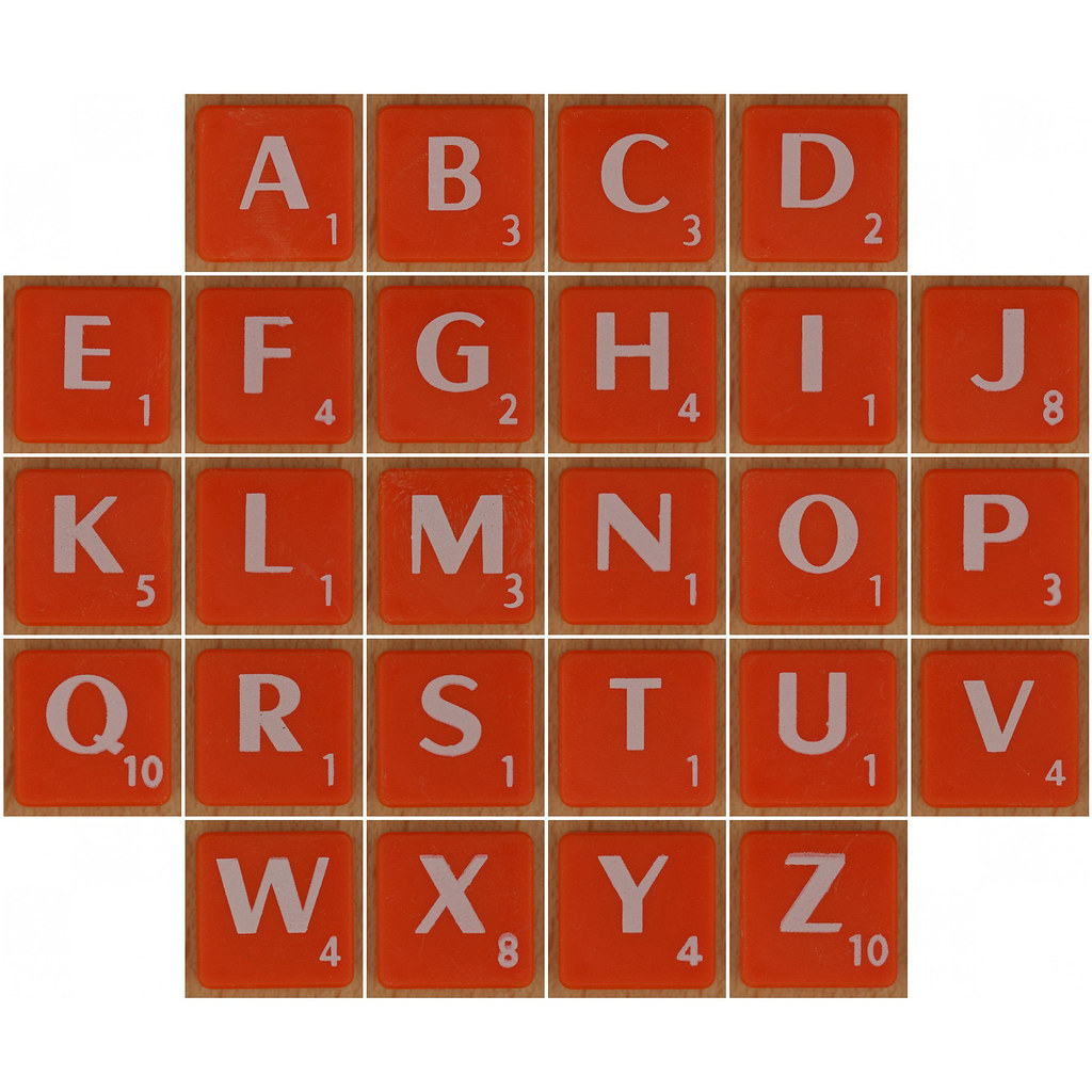 Scrabble white letter on orange alphabet