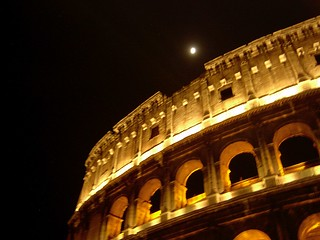 Italy (Rome) Colloseum and full moon