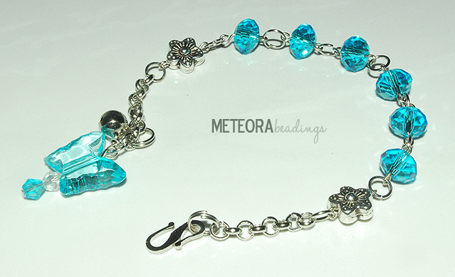 Bracelet - blue beads, with silver chains + flower sperators + bell