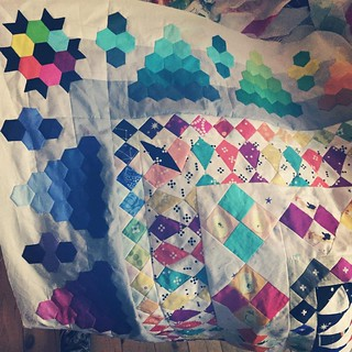 It is 1:56am on 1 April 2016 and I have FINISHED this bloody quilt top!!!! #jenndoesmrsbillingscoverlet is conquered. Tomorrow I'm going to take it out back & shoot it. (Or drive it up to @leanne_mountvincentquilts!) I'm sick of looking at it! And I'd be | by Penny Poppleton