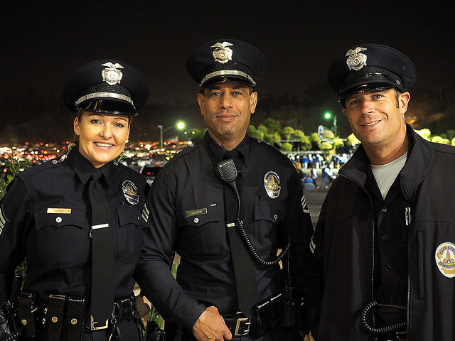 Sargeant Scarlett and LAPD keeping us safe at the ballpark.