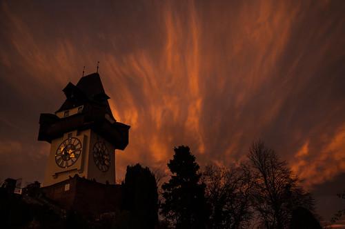 sunset dawn austria evening abend österreich sonnenuntergang dämmerung graz steiermark autriche styria autofocus uhrturm schlosberg infinitexposure