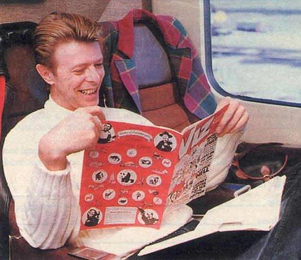 David Bowie reading a comic book