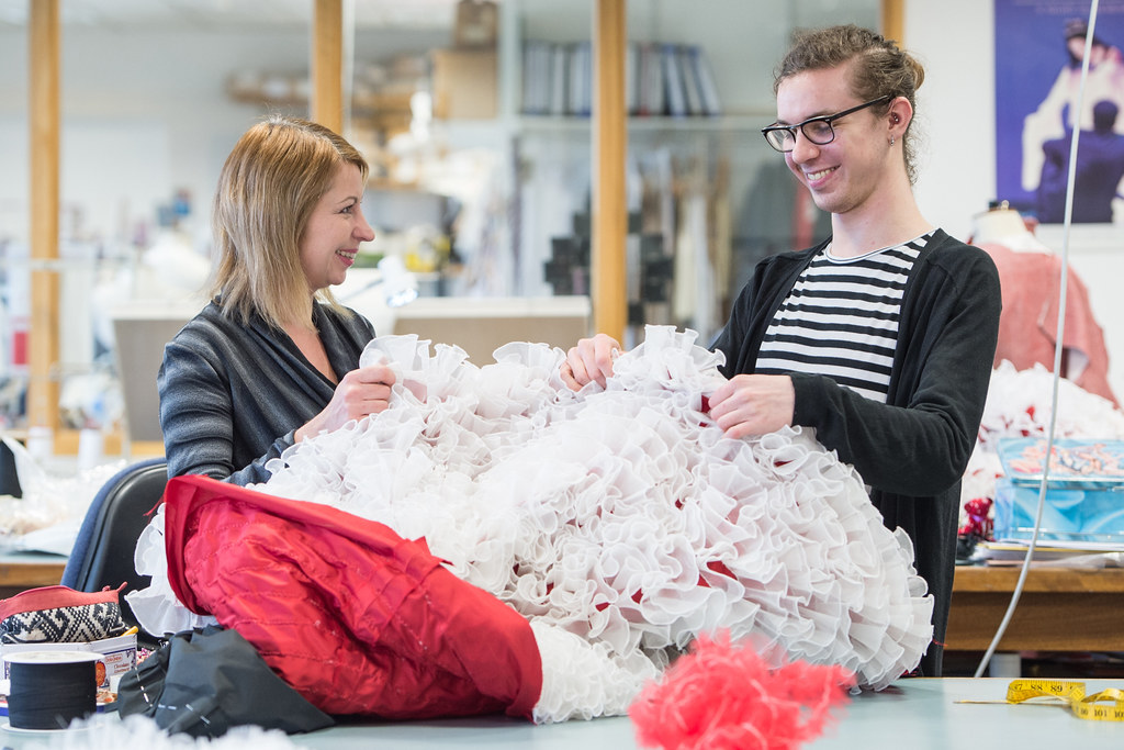Catriona Paterson, Head of Women's Costume Workroom, and Richard Butler, Costume Apprentice © ROH/Sim Cannety-Clark