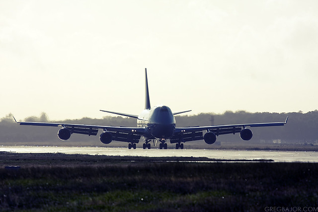 Commercial airplane at London Gatwick Airport, UK
