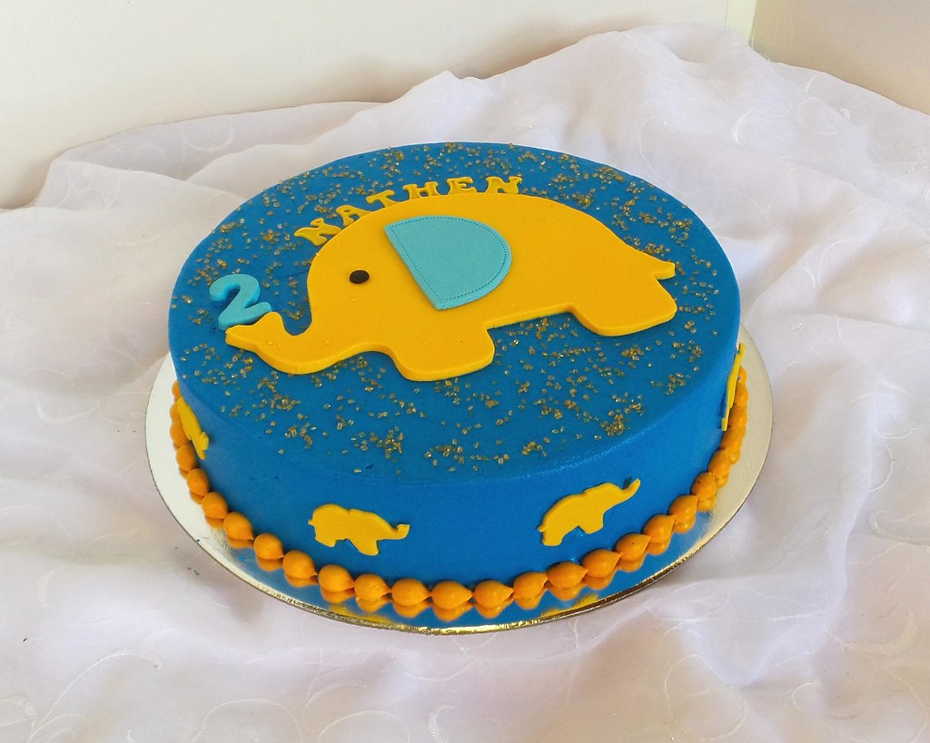 Astounding Simple Elephant Themed 2 Year Old Birthday Cake Willi Probst Funny Birthday Cards Online Elaedamsfinfo